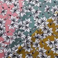 Canvas Stoff Lilien, schwarz weiß jadegrün