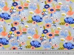 Jersey Blumen Blätter, aprikot mittelblau hellgrau