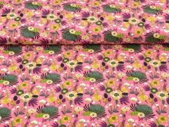 Jersey Blumen Blätter, khaki beere altrosa