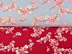 Soft Sweatstoff Kirschblüten Zweige, rosa hellgrau