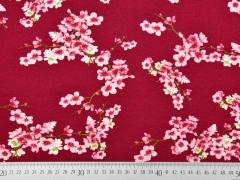Soft Sweatstoff Kirschblüten Zweige, rosa dunkelrot