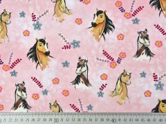 RESTSTÜCK 92 cm Jersey Pferde Spirit Riding Free Horses, rosa