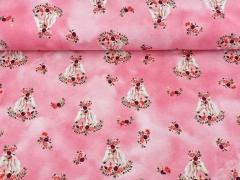 Sweatstoff French Terry Pferde Rosen Digitaldruck, rosa