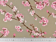 Viskose Stoff Kirschblüten, rosa weiß beige