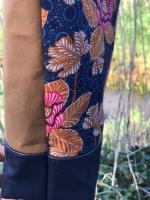 Baumwollstoff Blumen orientalisch, hellbraun dunkelblau