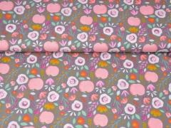 Baumwollstoff Äpfel Blumen, rosa grau