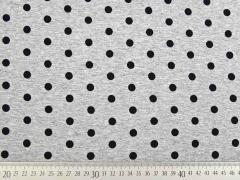 RESTSTÜCK 94 cm Viskosejersey Punkte, schwarz grau melange