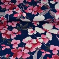 RESTSTÜCK 75 cm Viskosejersey Blumen Blätter, rosa dunkelblau