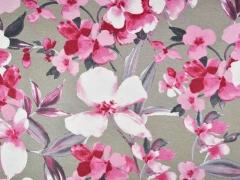 Viskosejersey Blumen Blätter, rosa helltaupe