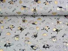 Jersey Superhelden Füchse Katzen Pandas Glitzer Foliendruck, gold grau