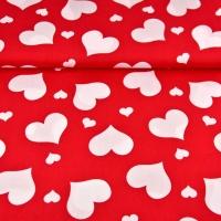 Baumwollstoff Herzen, weiß rot