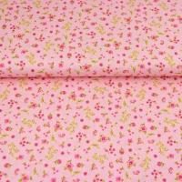 Bio-Baumwollstoff Streublümchen, rosa