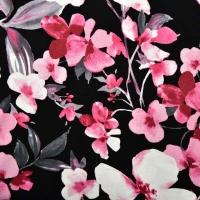 Viskosejersey Blumen Blätter, rosa schwarz