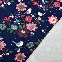 Sweat Stoff French Terry Blumen Vögel, rosa mint dunkelblau