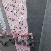 Jerseystoff Mäuse Schmetterlinge Sterne,grau rosa