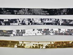 RESTSTÜCK 124 cm Paillettenband 20 mm breit, schwarz