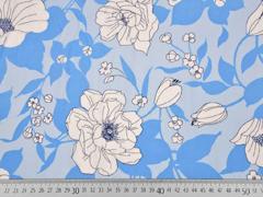 RESTSTÜCK 1,37 m Viskose große Blumen, weiss hellblau