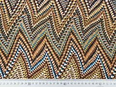 RESTSTÜCK 80 cm Viskose Crepe Ethnomuster Zickzack, türkis braun ocker