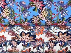 RESTSTÜCK 1,38 m Viskose Stoff opulente Blumen, pink navy mittelblau