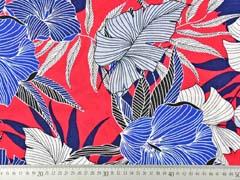 RESTSTÜCK 71 cm Viskose Crepe Stoff Blumen, dunkelblau weiß rot