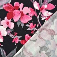 RESTSTÜCK 1,35m Viskosejersey Blumen Blätter, rosa schwarz