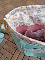 Baumwollstoff Kelchblumen Blätter Ranken, rosa