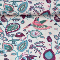 Dekostoff Leinenlook Kelchblumen Vögel, mint weinrot natur