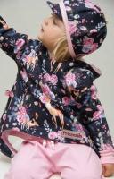 RESTSTÜCK 88 cm Sweatstoff Rehe Blumen Rosen, rosa dunkelblau