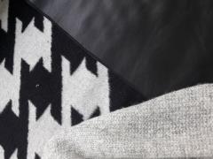 Mantelstoff Jackenstoff Hahnentritt angeraut, schwarz hellgrau