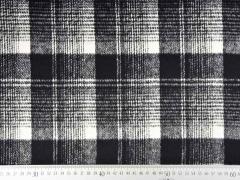 Mantelstoff Jackenstoff Karomuster angeraut, schwarz weiß