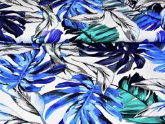 RESTSTÜCK 1,88 m Jersey große tropische Blätter, blau auf weiß