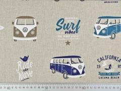 Dekostoff Leinenlook VW Bus Lizenz Stoff, blau natur