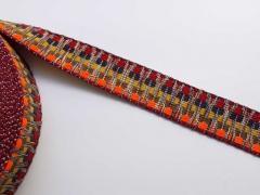 Gurtband Ethno Zickzack Streifen 38mm, dunkelrot dunkelblau senfgelb khaki neonorange