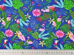 RESTSTÜCK 81 cm Jerseystoff Flamingo Tukan tropische Blätter, mittelblau