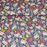 Viskose Crepe Blusenstoff Blumen, rot senfgelb dunkelgrau