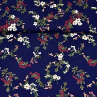 Viskose Stoffe Blumenzweige, bordeaux weiß dunkelblau