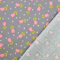 Feincord Stoff Tulpen Blumen, rosa grau