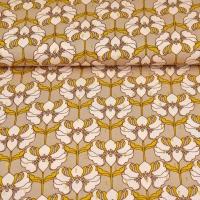 Viskose Stoff Blumen Glitzer Lurex, senfgelb beige