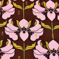 Viskose Stoff Blumen Glitzer Lurex, rosa dunkelbraun