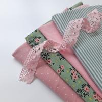 Jerseystoff Blümchen, rosa grün meliert