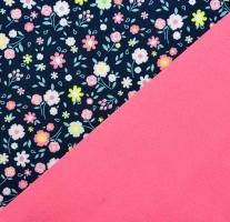 Softshellstoff Blümchen, rosa dunkelblau