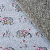 Sweatstoff Alpenfleece Igel, rosa jeansblau meliert