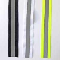 Reflektorband Ripsband Streifen 2.5 cm, silbergrau weiß