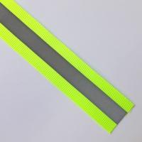 Reflektorband Ripsband Streifen 2.5 cm, silbergrau neongelb