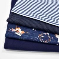Jerseystoff Füchse Bäume, dunkelblau
