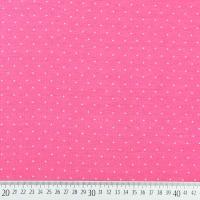 Jerseystoff kleine Punkte, weiß mattes pink (Himbeer Sorbet)