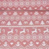 Sweatstoff Rentiere Weihnachtskugeln Bordüren, weiß altrosa
