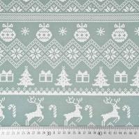 Sweatstoff Rentiere Weihnachtskugeln Bordüren, weiß altmint