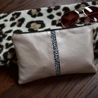 Baumwollstoff kleines Leoparden Muster, ecrue schwarz