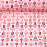 Baumwollstoff Blumen beschichtet, mattes rot ockergelb rosa